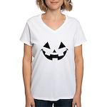 Smiley Halloween Black Women's V-Neck T-Shirt