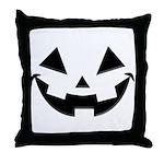 Smiley Halloween Black Throw Pillow