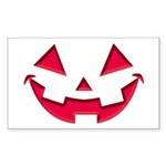 Smiley Halloween Red Rectangle Sticker