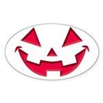 Smiley Halloween Red Oval Sticker