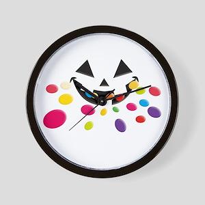 Eating Halloween Rainbow Blac Wall Clock