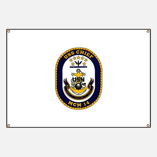USS Chief MCM 14 US Navy Ship Banner