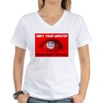 Fox News: Obey your Master Women's V-Neck T-Shirt