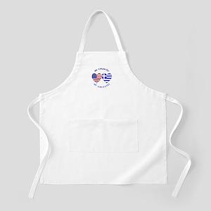 Greece/USA Flag Hearts BBQ Apron