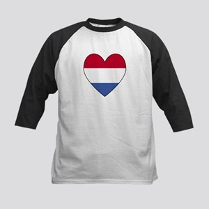 Dutch Flag Heart Valentine Kids Baseball Jersey
