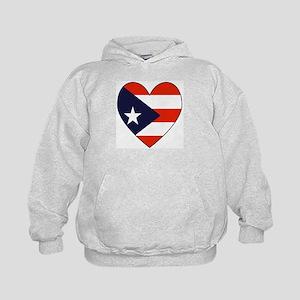 Puerto Rican Flag Heart Kids Hoodie