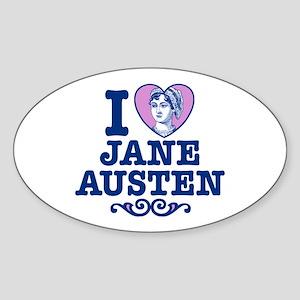 I Love Jane Austen Oval Sticker