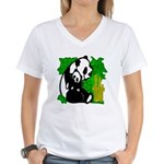 Panda Mommy & Baby Women's V-Neck T-Shirt
