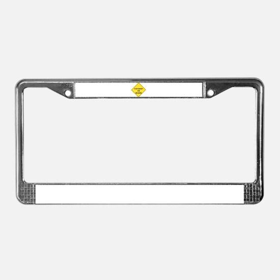 Cute Caution License Plate Frame