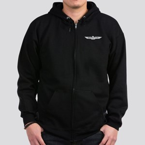 Ford Thunderbird Emblem Chrome Zip Hoodie (dark)