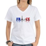 France Tricolore and Eiffel T Women's V-Neck T-Shi