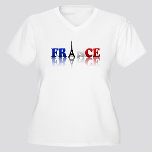 France Tricolore and Eiffel T Women's Plus Size V-