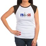 France Tricolore and Eiffel T Women's Cap Sleeve T