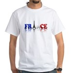 France Tricolore and Eiffel T White T-Shirt