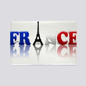 France Tricolore and Eiffel T Rectangle Magnet