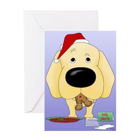 Yellow Lab Santa Greeting Card
