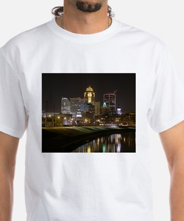 Downtown Des Moines at Night White T-Shirt