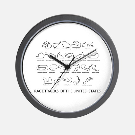 Race Tracks of the United States Wall Clock