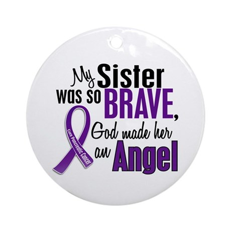 Angel 1 Sister Pancreatic Cancer Ornament (Round)