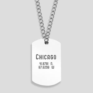 Chicago Latitude & Longitude Dog Tags