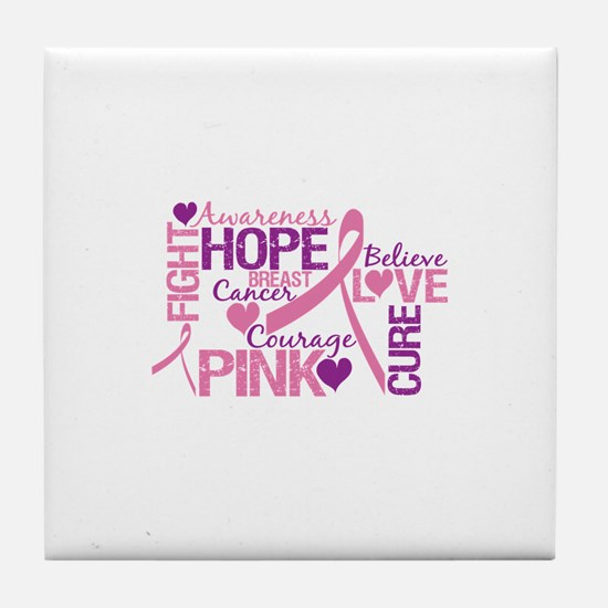 Breast Cancer Words Tile Coaster
