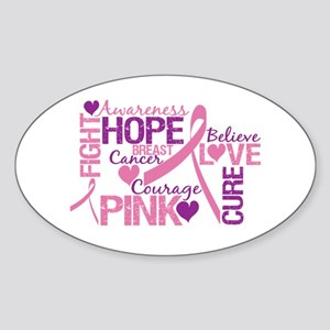 Breast Cancer Words Oval Sticker
