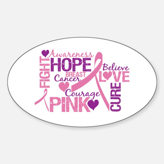 Breast Cancer Words Oval Decal