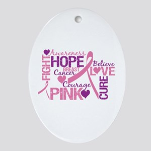 Breast Cancer Words Oval Ornament