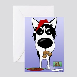 Siberian Husky Santa Greeting Card