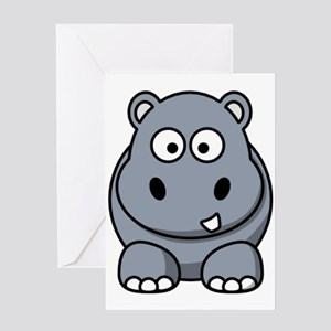 Cartoon Hippo Greeting Cards