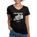 Twin Screwed! - Women's V-Neck Dark T-Shirt