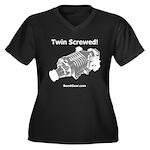 Twin Screwed! - Women's Plus Size V-Neck Dark T