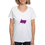 Boostgear's Pink Flag - Women's V-Neck T-Shirt