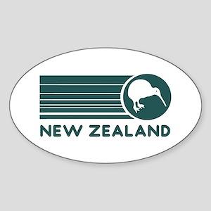 New Zealand Kiwi Stripes Oval Sticker