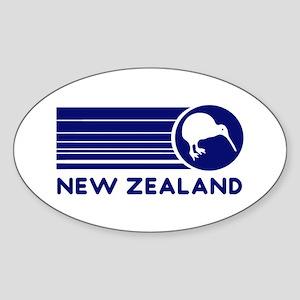 Blue New Zealand Kiwi Oval Sticker