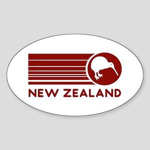 Red New Zealand Kiwi Stripes Oval Sticker