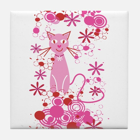 Fancy Pink Cat Tile Coaster