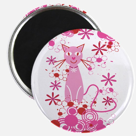 Fancy Pink Cat Magnet