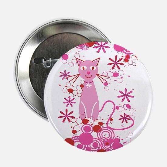 "Fancy Pink Cat 2.25"" Button"