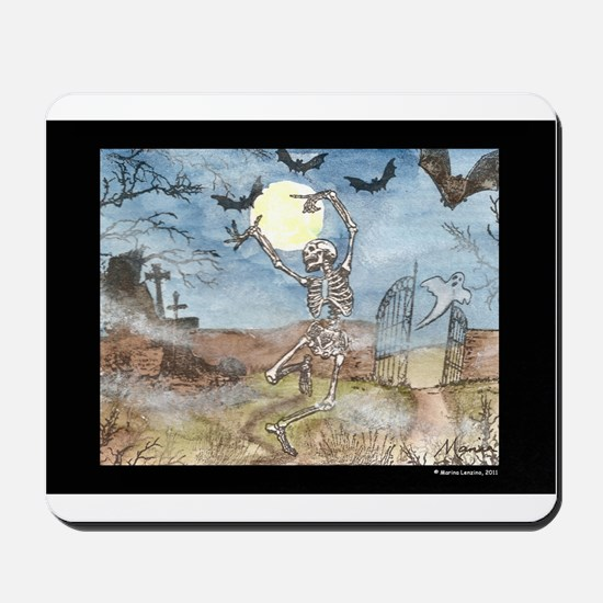 Dancing with the bats -skeleton Mousepad