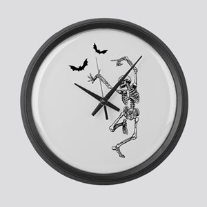 Dancing with the bats -skeleton Large Wall Clock