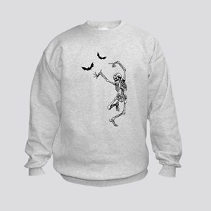 Dancing with the bats -skeleton Kids Sweatshirt