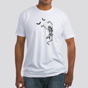 Dancing with the bats -skeleton Fitted T-Shirt
