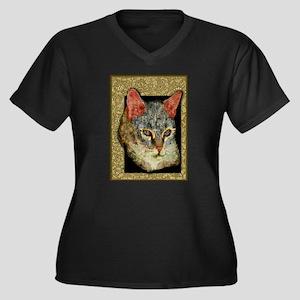 Cat Collages Women's Plus Size V-Neck Dark T-Shirt