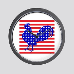 Stars And Stripes Rooster Wall Clock