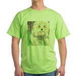 Portrait of a Yorkie Green T-Shirt