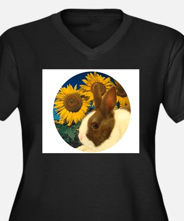 Cute Dutch rabbit Women's Plus Size V-Neck Dark T-Shirt