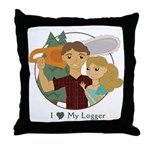 Love my logger Throw Pillow