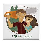 Love My Logger - Brunette Tile Coaster