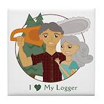 Love My Logger - Silver Tile Coaster